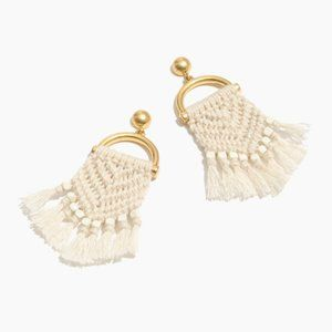 Madewell Cream + Gold Beaded Macrame Drop Earrings